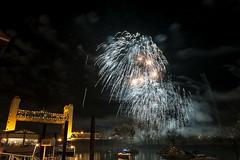White Fire Flowers (dcnelson1898) Tags: california towerbridge fireworks sacramento sacramentoriver westsacramento oldtownsacramento 2014newyearseve