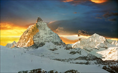 Kingdom at the top (Katarina 2353) Tags: christmas desktop travel winter sunset shadow wallpaper vacation sky people panorama mountain holiday snow alps art fall film nature field clouds landscape photography switzerland photo high nikon europe december peace place image outdoor snowy swiss paisaje newyear size resolution zermatt matterhorn paysage 2011 famouos katarinastefanovic swissskiresort katarina2353