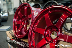 """VOLK Racing TE37SL 18x9.5 +22 Hyper Red • <a style=""""font-size:0.8em;"""" href=""""http://www.flickr.com/photos/64399356@N08/12913741505/"""" target=""""_blank"""">View on Flickr</a>"""
