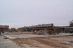 Mega Mall Destroyed (drew*in*chicago) Tags: chicago cta train transit moving people 2017 el l blueline