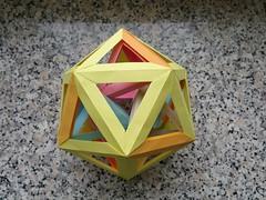 Six tetrahedra in an icosahedron, three-fold view (Aneta_a) Tags: origami modularorigami polyhedron polyhedra polypolyhedra icosahedralsymmetry octahedralsymmetry simplepaper icosahedron tetrahedron dirkeisner francisow tomokofuse