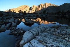 Day 26 of 40; Morning at Glen Lake (photography by Derek G) Tags: highsierra mountains mountain lake rock rocks landscape wilderness yosemite water sunrise alpineglow reflection