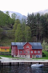 Norway. Cottage on a fjord near Flam.
