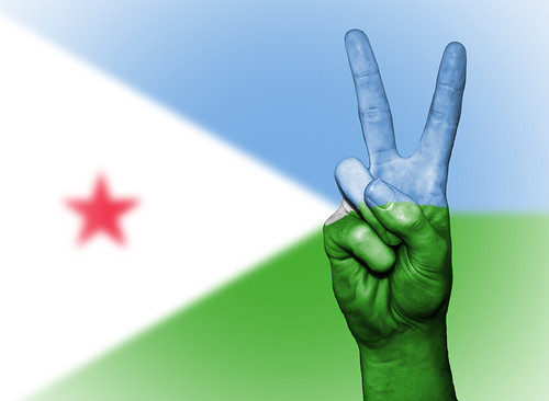 Peace Symbol with National Flag of Djibouti