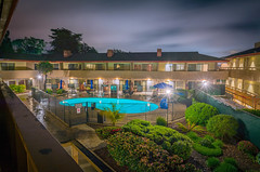 Night View -  on a rainy Southren California evening (luqmac) Tags: hwy1 hwy101 ventura coasthighway motel hotel swimmingpool nightshoot wyndhamgardenventura outdoorpool venturaca