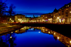 Pretty Nice Last Night (Cederquist Christoffer) Tags: reflection reflections urban night nightlight blue golden gothenburg sweden cederquist canal scape cityscape tree trees contrast contrasts pretty gaussianblur affinityphoto
