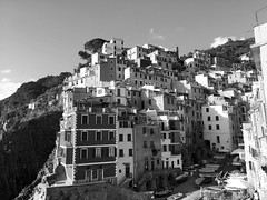 The Five Lands (andrewwebbcurtis) Tags: blackandwhite bw city urban travel wanderlust cinqueterre 5terre italia italy europe mediterranean