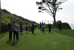 playing croquet at the wedding (squeezemonkey) Tags: wingchee wedding cornwall polhawnfort ramehead croquet game garden guests lawn