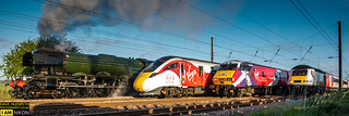 4 Trains, History was made as the Flying Scotsman steam locomotive, an HST, a 225 electric unit and one of the new Azuma trains run south side by side on all four tracks on the East Coast Mainline north of York on the 23rd of April 2017
