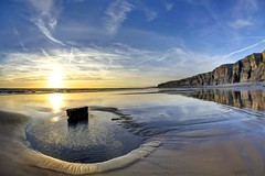 Don't let the sun get in the way (pauldunn52) Tags: sunset nash point cwm beach wet sand reflections rock pool
