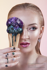 Bashful Owl (icecream) (Katelin Kinney) Tags: druzy quartz crystal fruit icecream strawberry grapefruit pear geod glitter shine shimmer sparkly conceptual surreal advertising campaign beauty commercial blond beautiful jewels gems