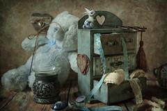 Favorite chest of drawers (Button-NK) Tags: stilllife decoupage needlework chestofdrawers toys bear blue scissors rabbit handmade