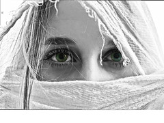 Can You See? (GianlucaChincoli) Tags: portrait blackwhite color eyes green blackandwhite veil face intense eyesight surreal overexposed exposure whites balance shades lines photoshop art canon photography shot girl woman beauty beautiful graceful harmony seen