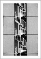 three doors (Norbert Kaiser) Tags: sassnitz inselrügen feuerleiter tür hochhaus hotel schwarzweis blackwhite architektur modernearchitektur plattenbau