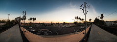 """Sunset Panorama Over 5 Points Bridge"" (SJS Photog) Tags: 1wkndwhit 180degrees 2017 5points blue california camera canon colors greenwaytrail lens orange purple rokinon14f28 socal ultrawide unitedstatesofamerica whittier whittierblvd art bridge city clouds pano panoramic photo photograph photography photooftheday photos powerlines sculpture sky sunset traffic trail windart"