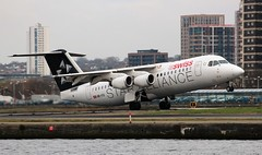 HB-IYU Avro RJ100 Swiss Airlines Star Alliance livery (R.K.C. Photography) Tags: hbiyu avro avrorj100 aircraft airliners swissairlines lx swr staralliance london england unitedkingdom uk canoneos100d newham docklands silvertown londoncityairport lcy eglc
