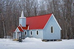 holy trinity anglican church, st. joseph island, ontario (twurdemann) Tags: anglicanchurch architecture building canada church circa1882 clapboard detailextractor forest fujixt1 highway548 holytrinitychurch jocelyntownship landscape nikcolorefex ontario redroof rural snow spring stjosephisland stepple viveza whiteneutralizer woodframe xf55200mm
