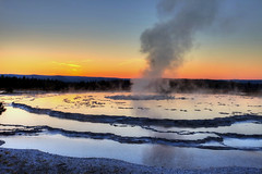 Evening, Great Fountain Geyser (klauslang99) Tags: klauslang great fountain geyser yellowstone national park nature naturalworld northamerica steam volcanic usa sunset landscape