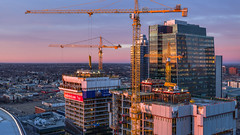 Cranes, Edmonton, Alberta (WherezJeff) Tags: edmonton sunset yeg cranes highrise icedistrict pano skyline yegdt alberta canada ca pcl