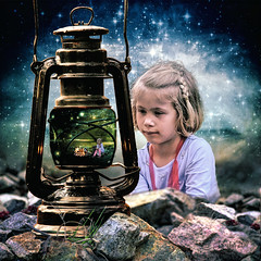 Marshmallow Dreams (clabudak) Tags: campfire camping night fire girl dreaming lantern outdoors rocks