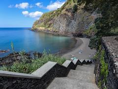 Private beach (RIch-ART In PIXELS) Tags: beach coastline shore sea atlantic ocean hillside water stairs sãomiguel azores portugal leicadlux6 leica dlux6 rocks sand caloura