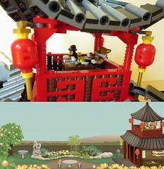 Comparison at 17:00 (yetanothermocaccount) Tags: lego moc ninjago chinese asian tea kungfu park garden architecture ideas river rush fish google gmail