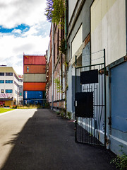 The Gate is Open (Steve Taylor (Photography)) Tags: stacked graffiti building container newzealand nz southisland canterbury christchurch cbd city grass lawn plant weeds perspective