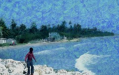 boy on the rocky beach (Pejasar) Tags: beach rocky white shore jamaica boy waves blue art artistic palm trees