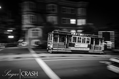 Street Trolley (OmegaMoth) Tags: sanfrancisco california street city urban blackandwhite bw white black monochrome blackwhite nikon trolley monochromatic september dslr 2012 d7000 nikond7000 sugarcrashphotography