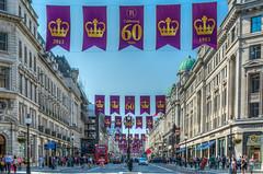 London   |   Celebrating 60 Years (JB_1984) Tags: uk england london unitedkingdom flag banner regentstreet westend hdr highdynamicrange coronation queenelizabethii cityofwestminster