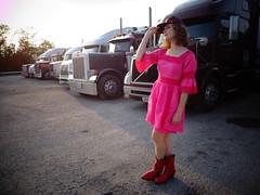 DSC01193 (Becky Haltermon Robinson) Tags: pink red hat fashion model cowboy dress boots bluegrass lace kentucky fuchsia mini baseballhat semi truckstop 70s editorial trucks cowgirl fashionshoot i75 truckerhat cowboyboots truckers baseballcap minidress bellsleeves cowgirlboots bluegrassmusic semitrucks redcowboyboots redcowgirlboots