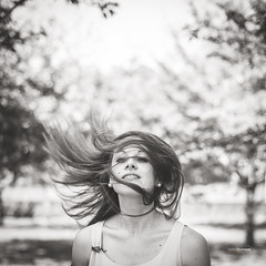 In the Wind (Franck Tourneret) Tags: bw nature girl hair vent 50mm nikon wind bokeh nb fille carr cheveux d4
