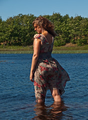 Lotte in a lake (Stokholm2007) Tags: woman lake water sunshine dress romantic emotional vand s kvinde