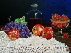 Fruits and wine close up (Carlos Trevino Artwork) Tags: nature glass gold bottle artwork strawberry wine grapes botella vino oro bodegon granadas uvas acrylicpaintings bodegone