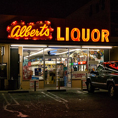 albert's liquor. culver city, ca. 2005. (eyetwist) Tags: california city postprocessed color detail reflection beer night dark square typography la store losangeles los nikon exposure neon angeles parking sharp lottery liquor socal filter processing font type coolpix booze plugin cigars nik lotto processed helpwanted sepulveda alberts culvercity lightroom typographic culver 8700 angeleno alienskin e8700 reprocessed alienskinexposure eyetwist nikcolorefex npy albertsliquor eyetwistkevinballuff