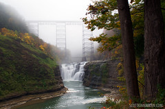 Letchworth State Park - Upper Falls (Wide Shot) (Scott Kinmartin) Tags: park autumn ny color fall nature water leaves landscape outdoors scenery colorful state waterfalls letchworth letchworthstatepark upperfalls castile portageville