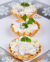 Traditional New Year's salad olivier in tartlets (Shomova) Tags: new food green salad mixed russia eating traditional year plate vegetable meat gourmet potato snack meal eggs peas appetizer portion parsley russian pea olivier mayonnaise nutrition prepared tartlets