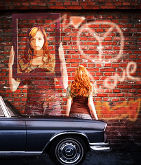 Wall Art (Swissrock) Tags: street november love girl photoshop freedom mercedes artwork peace parking wallart manipulation graffity fantasy lightroom 2013
