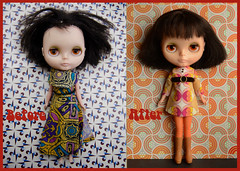 Penny before and after (Button Cottage Blythe) Tags: brown vintage hair doll before restore restoration after kenner blythe brunette bangs raven comparison spa treatment