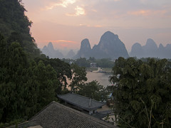 Hostel roof at sunset (Nathan Zehr) Tags: china guilin xingping