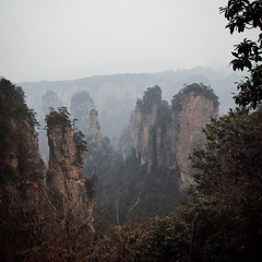 Look Out (lukemarkof) Tags: china blue light shadow holiday black green art history classic stone forest canon dark fun happy grey exposure day play view outdoor style funky special exotic depth interest challenging zhangjiajie wulingyuan 2013 australianphotographers 60d