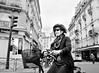 """The Rapid Lady"" (Ges Rules ♥) Tags: street old city urban blackandwhite woman paris bike bicycle buildings hand riding mildred ridingabike lamanoamiga quierosercomoella"