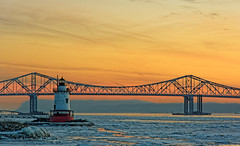 Sunset over the Hudson (patch.1313) Tags: bridge winter sunset sky orange lighthouse snow ice river nikon glow february sleepyhollow 2014 hudon tappenzee nkkor 1685mmf3556gvr