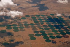 Aerial view (PhotOvation) Tags: usa cloud brown green phoenix field circle flickr pattern view geometry farm unique aerial crop round land geometrical utha fromplane fromair halfcircle photovation vision:sunset=0771 vision:sky=0936 vision:clouds=0871