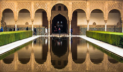 Alhambra Reflection (Franco Beccari) Tags: world city trip travel blue red vacation white holiday black color colour reflection green tourism monument water yellow architecture reflections photography spain nikon europe alhambra nikkor d600 vision:outdoor=0751