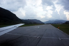 Lugano airport runway close to sunset
