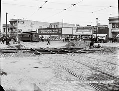 U02622 (SFMTA Photo Archive) Tags: sanfrancisco california ca usa us construction crossing publictransportation streetcar rubble hayesstreet 6line streetcartracks glassplatenegative blackandwhitephotograph horsedrawncart larkinstreet yosemitehouse urr mentz sfmta historicphotograph eveningpostsign tenderloinneighborhood sanfranciscomunicipaltransportationagency unitedrailroadsofsanfrancisco unitedrailroads johnhenrymentz harrymentz overheadstreetcarpowerline april151910 bouviersbuchuginsign easternoutfittingcompanysign horsedrawnnationalicecart u02622 wordenmeekervarnishcompanysign