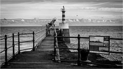 Amble . (wayman2011) Tags: fujifilmxt10 lightroom wayman2011 bw mono seascapes coast lighthouses piers fisherman northumberland amble uk