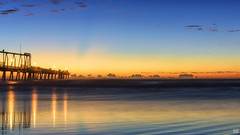 First light (BAN - photography) Tags: sea firstlight clouds sky bluehour sandpumpingjetty jetty longexposure lights reflections thespit d810