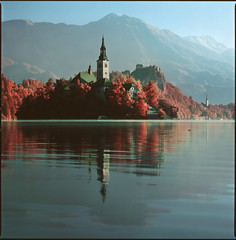 Bled in Red (150mm version) (steve-jack) Tags: hasselblad 501cm 150mm kodak aerochrome bw 099 filter slovenia lake bled red infrared film 120 medium format 6x6 tetenal e6 epson v500
